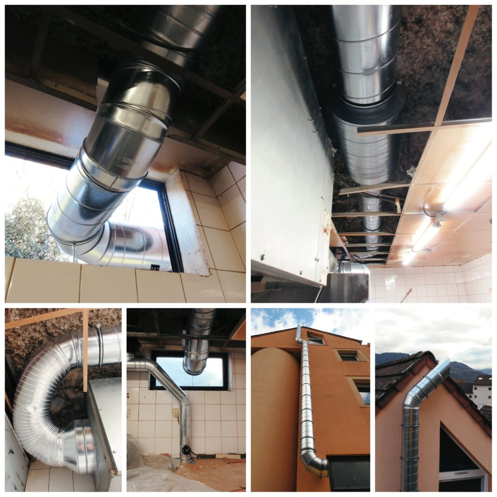 réseau VMC gaines restaurant silencieux acier galvanisé sortie de toiture